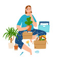 girl packing her stuff moving vector image vector image