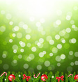 Green Bokeh With Fir Tree Border vector image vector image