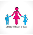 happy mothers day card with kids icon vector image vector image