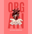 human heart in hands organ donor day poster vector image