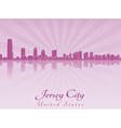 Jersey City skyline in purple radiant orchid vector image vector image