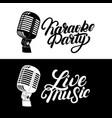 karaoke hand written lettering logo emblem vector image