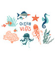 marine wildlife hand drawn flat set ocean vibes vector image