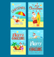 merry christmas santa claus lying sunbed surfboard vector image vector image