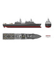 military ship top front and side view vector image vector image