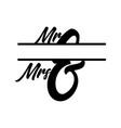 mr and mrs monogram split letter initial isolated vector image