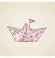 paper boat and flowers vector image vector image