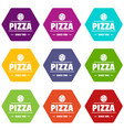 pizza tomato icons set 9 vector image