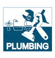 plumbing repair with a wrench in his hand vector image vector image