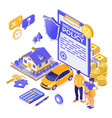 property car house insurance isometric vector image vector image