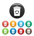 recycling eco bin icons set color vector image vector image