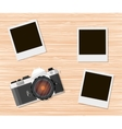 Retro old camera and instant photo frames vector image vector image