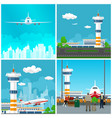 runway at the airport with control tower vector image vector image
