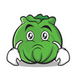 sad cabbage cartoon character style vector image vector image