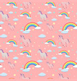 seamless background with unicorns and rainbows vector image