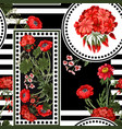 seamless pattern with red botanical flowers vector image vector image