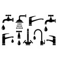 set black tap silhouettes on white vector image