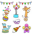 set of circus element doodles vector image vector image
