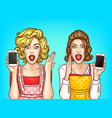shocked women with smartphone excited vector image