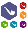smoking pipe icons set hexagon vector image