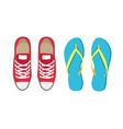 sneakers and flip-flops set vector image vector image