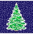 Snowy Christmas tree in the snow background vector image
