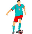 soccer player in green-red uniforms colored for vector image