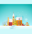 street of small european city or town at christmas vector image vector image