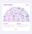 support service concept with thin line icons vector image vector image