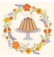 Sweet pudding in floral wreath card vector image vector image