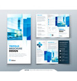 tri fold brochure design with square shapes vector image