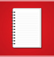 white blank paper note book on red background vector image vector image