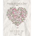 White card with heart of flowers for Mothers Day vector image vector image