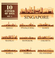 10 asian cities set of vector image vector image