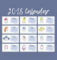 2018 year is a horizontal calendar a beautiful vector image