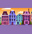 amsterdam cityscape cartoon vector image