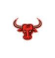 Angry Bull Head Front Retro vector image vector image