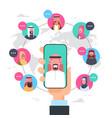 arab man hand holding smart phone network vector image vector image