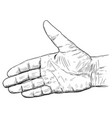 artistic or drawing of hand open for handshake vector image vector image