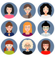 avatars of girls and women with glasses set of vector image