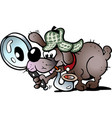 cartoon a a clever and cunning detective dog vector image vector image