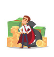 cartoon businessman standing with stack of money vector image