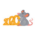 cartoon mouse with number 2020 vector image vector image