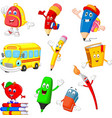 cartoon school supplies collection set vector image vector image