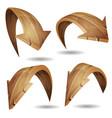 cartoon wood arrows signs set vector image vector image