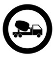 cement mixers truck icon black color in circle vector image