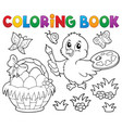 coloring book easter theme with chicken vector image vector image