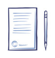 contract paper icon sharp pencil isolated vector image