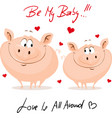cute pig in love - valentines day vector image vector image