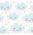 cute seamless pattern with smiling clouds vector image vector image